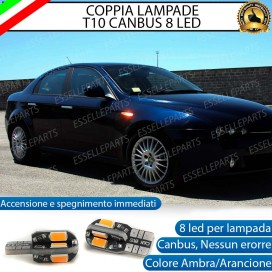Coppia Lampade T10 W5W 8 LED per Frecce Laterali Alfa Romeo 159