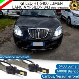 KitFull LED H1 Anabbaglianti 6400 LUMEN LANCIAYPSILON CON FARO LENTICOLARE