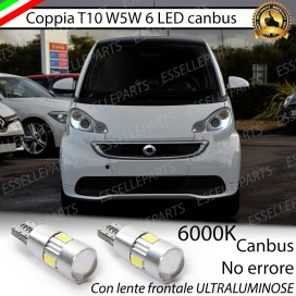 Luci posizione T10 W5W 6 LED Canbus Smart Fortwo II