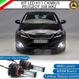 Kit Full LED H8 9800 LUMEN Fendinebbia per PEUGEOT 308 II