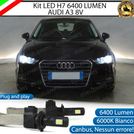 Kit Full LED H7 6400 LUMEN Anabbaglianti AUDI A3 8V + portalampade specifici