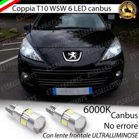 Luci posizione T10 W5W 6 LED Canbus Peugeot 207
