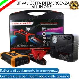 KIT Avviatore Batteria + Compressore Gomme di Emergenza Auto