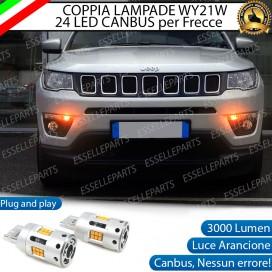 Coppia Frecce Anteriori WY21W T20 24 LED Canbus 3.0 PER JEEP COMPASS II