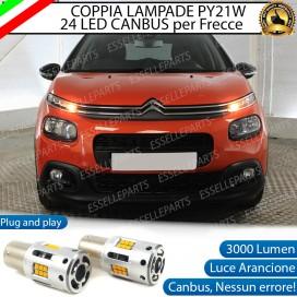 Coppia Frecce Anteriori PY21W 24 LED Canbus 3.0 per CITROEN C3 III