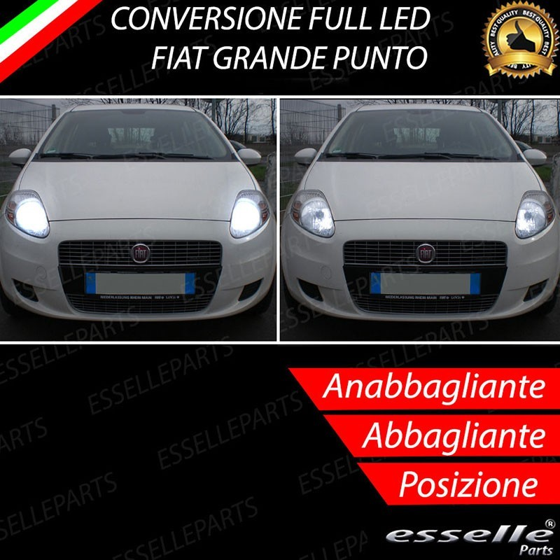conversione fari full led 6000k canbus fiat grande punto. Black Bedroom Furniture Sets. Home Design Ideas
