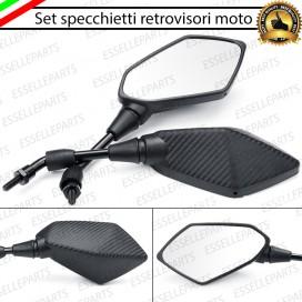 Coppia Specchietti Retrovisori Carbon Look Universali per moto,motorini,scooter