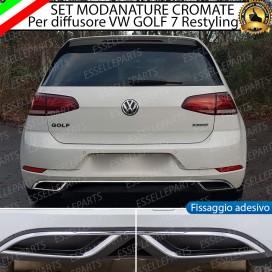 Terminale doppio Cromato Adesivo Per VW Golf 7 Restyling