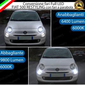 Conversione Fari Full LED Fiat 500 restyling con faro a parabola