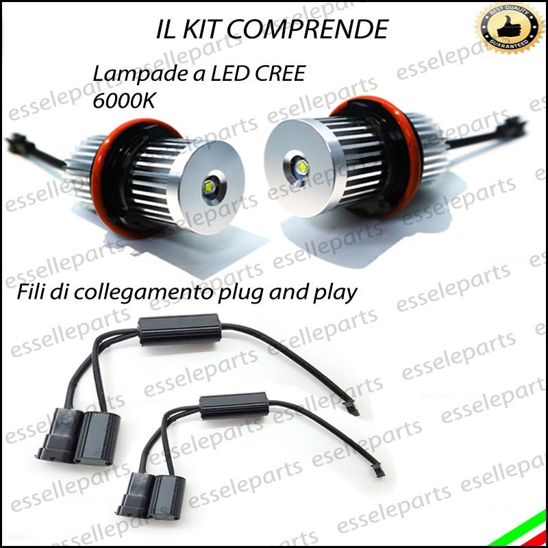 Luci angel eyes led canbus bmw serie 1 e87 luce bianca no for Luci al led