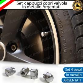 Set 4 Tappi Coprivalvola Argentati in alluminio per Nissan Juke