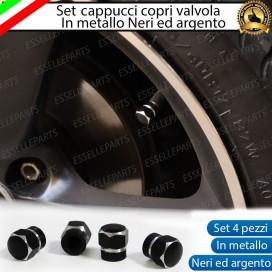 Set 4 Tappi Coprivalvola Neri in alluminio per Lancia Ypsilon II (846)